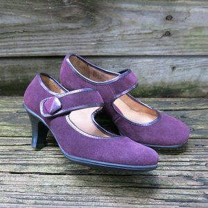 Craft and Barrow Burgundy Suede Mary Jane Pumps